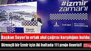 Başkan Soyer'in ortak akıl çağrısı karşılığını buldu: Dirençli bir İzmir için iki haftada 111 proje önerisi