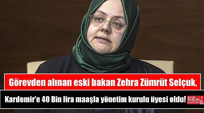 Görevden alınan eski bakan Zehra Zümrüt Selçuk, Kardemir'e 40 Bin lira maaşla yönetim kurulu üyesi oldu